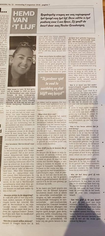krantenartikel persoonlijke update 30-8-18